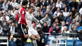 MADRID, SPAIN -FEBRUARY 13: Cristiano Ronaldo (R) of Real Madrid in action during La Liga Football match between Real Madrid and Athletic Bilbao at Santiago Bernabeu Stadium in Madrid, Spain on February 13, 2016. Burak Akbulut / Anadolu Agency
