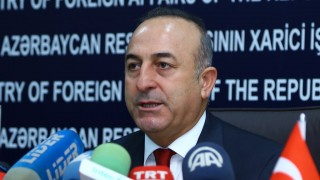 BAKU, AZERBAIJAN - FEBRUARY 18: Turkish Foreign Minister Mevlut Cavusoglu and Azerbaijani Foreign Minister Elmar Mammadyarov (not seen) hold a press conference after their meeting in Baku, Azerbaijan on February 18, 2016.