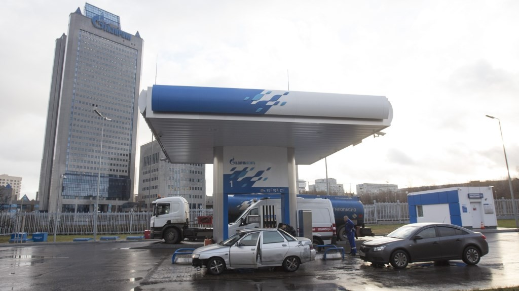 MOSCOW, RUSSIA - DECEMBER 22: Gazprom headquarters building is seen behind a gas station in Moscow, Russia on December 22, 2015.  Nikita Shvetsov / Anadolu Agency
