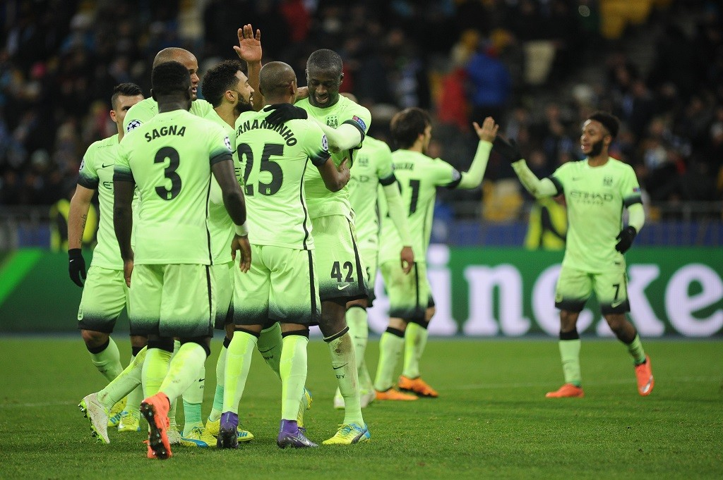KIEV, UKRAINE - FEBRUARY 24 : Yaya Toure (C) and other players of Manchester City celebrate the final goal of Manchester City during the UEFA Champions League Round of 16 soccer match between Dynamo Kyiv and Manchester City at NSC Olimpiyskiy on February 24, 2016 in Kiev, Ukraine. Alexey Furman / Anadolu Agency