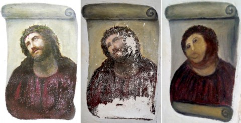 """A combination of three documents provided by the Centre de Estudios Borjanos on August 22, 2012 shows the original version of the painting Ecce Homo (L) by 19th-century painter Elias Garcia Martinez, the deteriorated version (C) and the restored version by an elderly woman in Spain. An elderly woman's catastrophic attempt to """"restore"""" a century-old oil painting of Christ in a Spanish church has provoked popular uproar, and amusement. Titled """"Ecce Homo"""" (Behold the Man), the original was no masterpiece, painted in two hours in 1910 by a certain Elias Garcia Martinez directly on a column in the church at Borja, northeastern Spain. The well-intentioned but ham-fisted amateur artist, in her 80s, took it upon herself to fill in the patches and paint over the original work, which depicted Christ crowned with thorns, his sorrowful gaze lifted to heaven.  = RESTRICTED TO EDITORIAL USE - MANDATORY CREDIT """" AFP PHOTO/ CENTRO DE ESTUDIOS BORJANOS"""" - NO MARKETING NO ADVERTISING CAMPAIGNS - DISTRIBUTED AS A SERVICE TO CLIENTS =-/AFP/GettyImages           NYTCREDIT: -/Agence France-Presse -- Getty Images"""