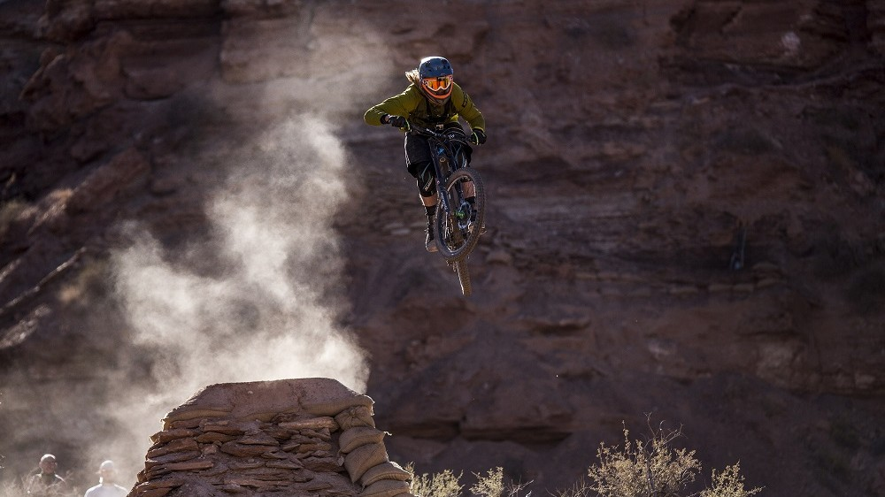VIRGIN, UT - OCTOBER 14:  (EDITORIAL USE ONLY) In this handout image provided by Red Bull, Kelly McGarry of New Zealand rides a practice session during the tenth edition of Red Bull Rampage freeride event, Virgin, Utah, USA. (Photo by Dean Treml/Red Bull via Getty Images)