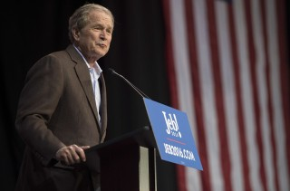 Former US President George W. Bush speaks for his brother and Republican presidential candidate Jeb Bush during a campaign rally in Charleston, South Carolina, February 15, 2016.  / AFP / JIM WATSON
