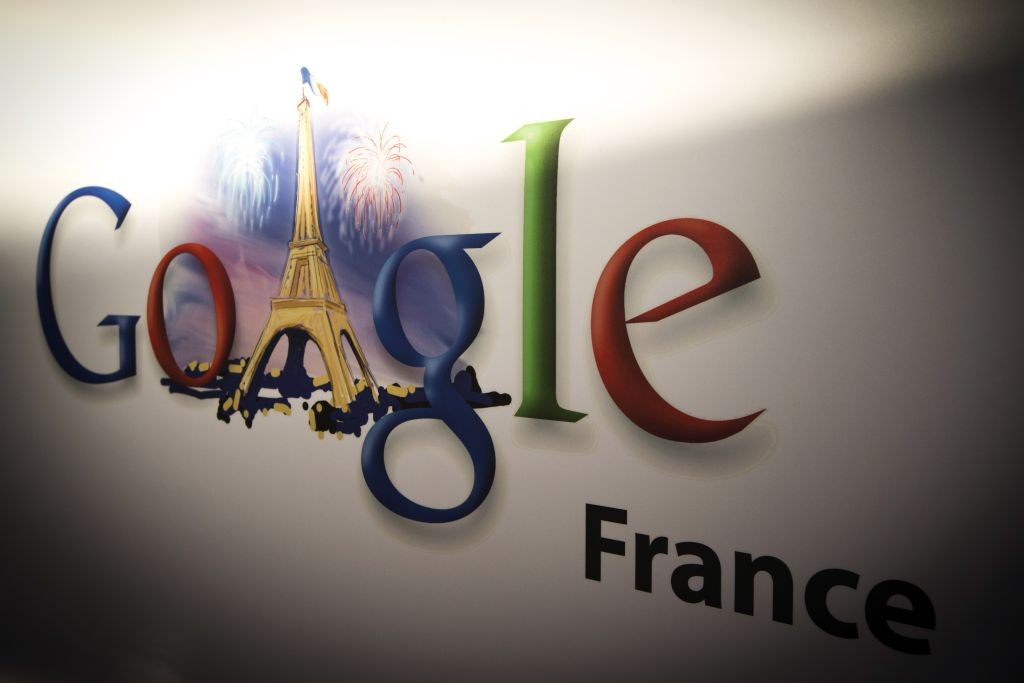 This picture taken on December 10, 2013 shows Google's logo at the Google cultural hub in Paris. The Lab is a place in the French capital designed to enable artists, museums, foundations and other cultural players to meet the US giant's engineers and gain access to its technology. France's culture minister on December 10 cancelled her attendance at the Paris launch of the Google cultural hub at the last minute, in a snub to the US giant over data protection and other issues. AFP PHOTO/JOEL SAGET (Photo credit should read JOEL SAGET/AFP/Getty Images)
