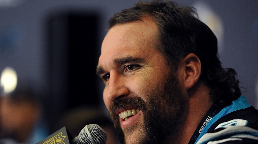 Carolina Panthers defensive end Jared Allen during a news conference on Tuesday, Feb. 2, 2016, at the San Jose Convention Center in San Jose, Calif. The Panthers play the Denver Broncos in Super Bowl 50 on Sunday. (Jeff Siner/Charlotte Observer/TNS)