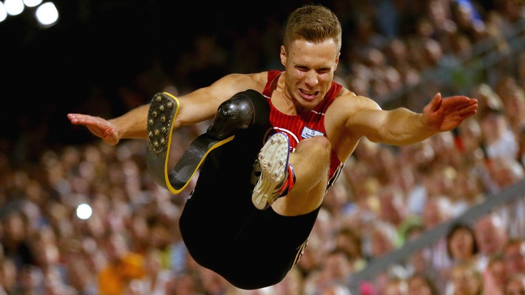 competes in the mens long jump finale at Hauptmarkt Nuremberg during day 1 of the German Championships in Athletics on July 24, 2015 in Nuremberg, Germany.