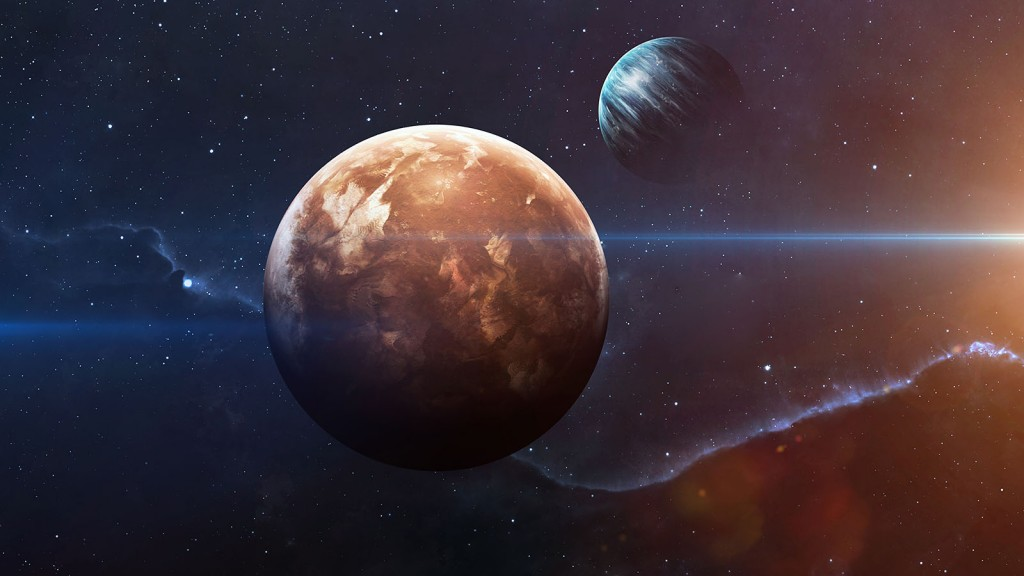 Planets over the nebulae in space. This image elements furnished