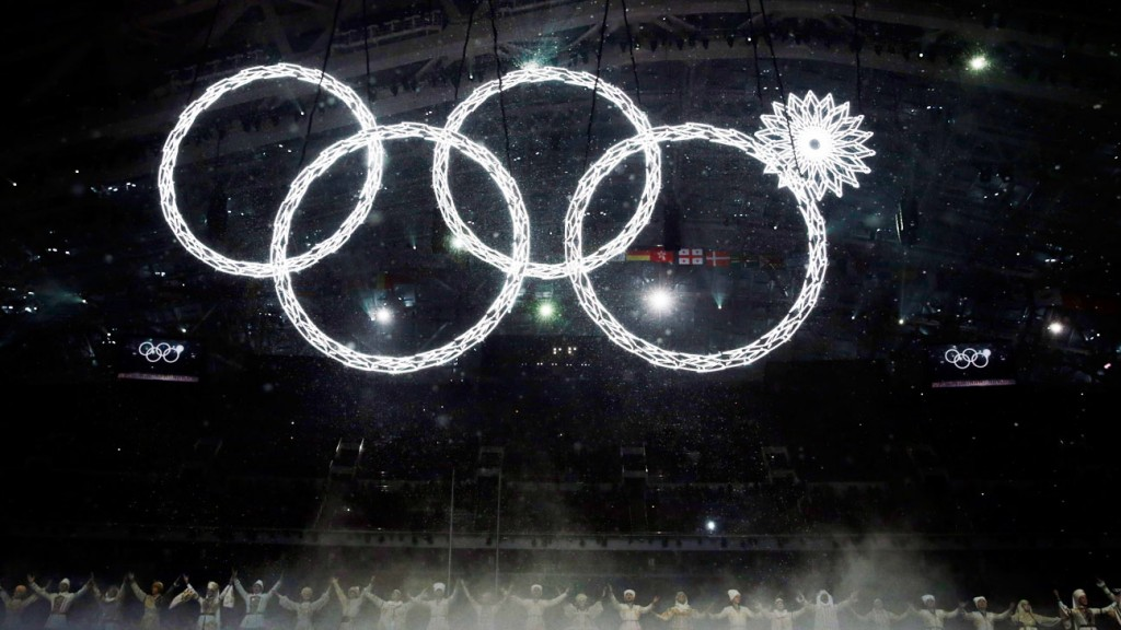 One of the Olympic rings fails to open during the opening ceremony of the 2014 Winter Olympics in Sochi, Russia, Friday, Feb. 7, 2014. (AP Photo/Matt Dunham)
