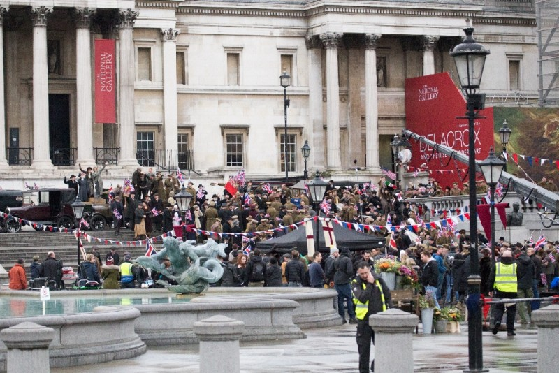Gal Gadot and Lucy Davis film a scene for the movie 'Wonder Woman' in Trafalgar Square  Featuring: Gal Gadot, Lucy Davis Where: London, United Kingdom When: 21 Feb 2016 Credit: WENN.com