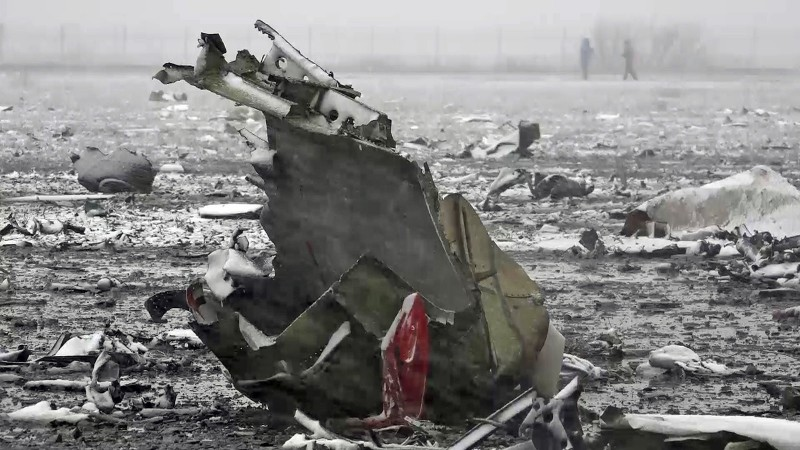 2809780 03/19/2016 The crash site of the Boeing-737-800 passenger jet which crashed on landing in Rostov-on-Don airport (a video screen shot courtesy of the Russian Emergencies Ministry)./Press-service of Russian Emergency Situations Ministry