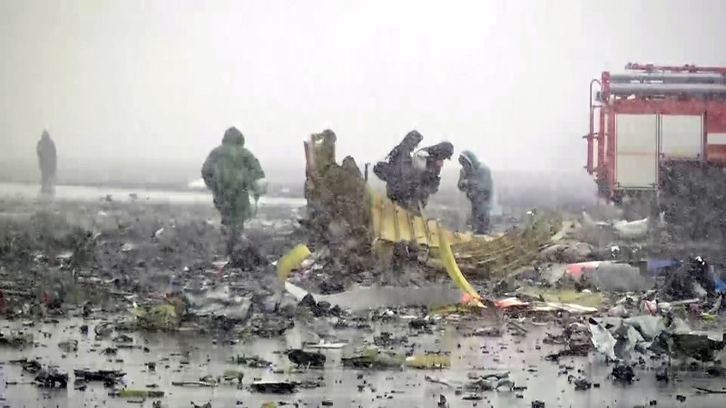 2809789 03/19/2016 The crash site of the Boeing-737-800 passenger jet which crashed on landing in Rostov-on-Don airport./Press-service of Russian Emergency Situations Ministry
