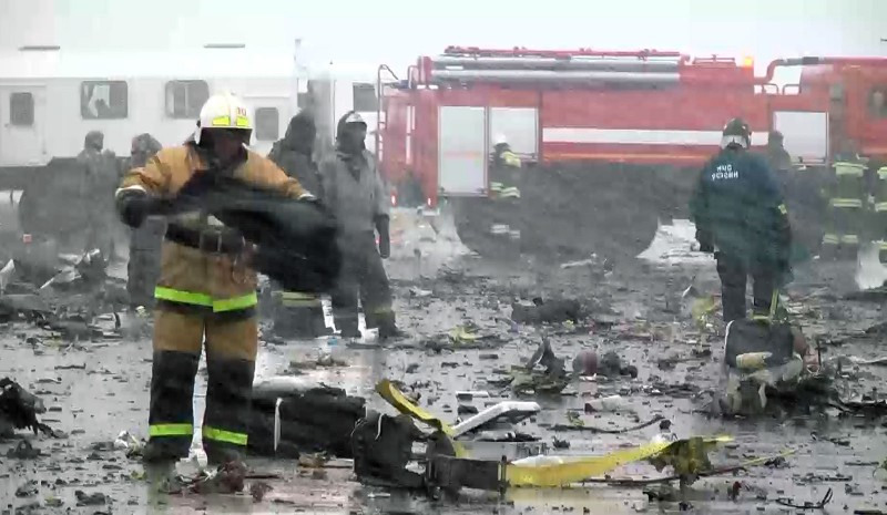 2809791 03/19/2016 The crash site of the Boeing-737-800 passenger jet which crashed on landing in Rostov-on-Don airport./Press-service of Russian Emergency Situations Ministry
