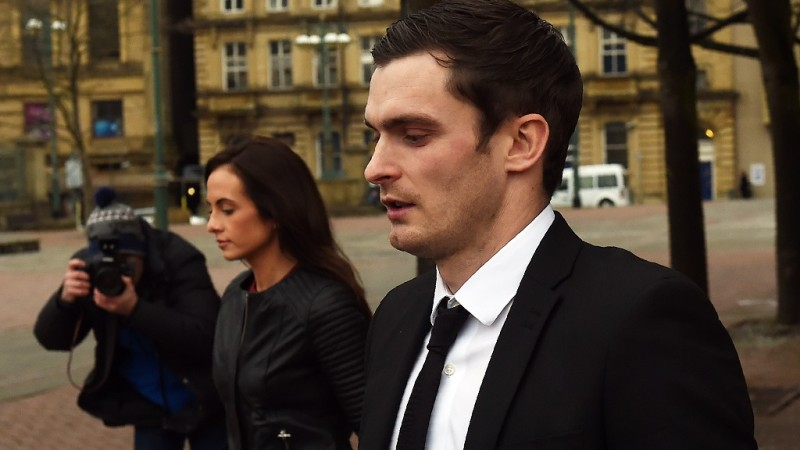 Former Sunderland footballer Adam Johnson (R) and his former girlfriend Stacey Flounders (L) leave Bradford Crown Court in Bradford, northern England, on February 29, 2016.  Former Manchester City and Sunderland star Johnson has admitted one count of sexual activity with a child and another of meeting a child following grooming. The 28-year-old denies two counts of sexual activity with the girl, who was 15 years old at the time of the alleged incident.    / AFP / PAUL ELLIS