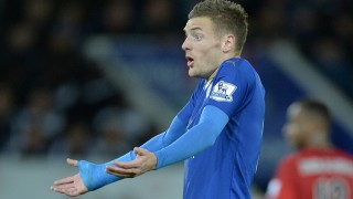 Leicester City's English striker Jamie Vardy reacts during the English Premier League football match between Leicester City and West Bromwich Albion at the King Power Stadium in Leicester, central England on March 1, 2016. / AFP / OLI SCARFF / RESTRICTED TO EDITORIAL USE. No use with unauthorized audio, video, data, fixture lists, club/league logos or 'live' services. Online in-match use limited to 75 images, no video emulation. No use in betting, games or single club/league/player publications.  /