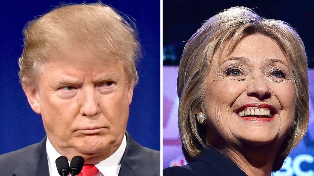 In this combination of file photos shows, Republican presidential hopeful Donald Trump on January 14, 2016 and his Democratic rival Hillary Clinton on February 4, 2016.  Donald Trump and Hillary Clinton took a big leap toward clinching their parties' nomination for the US presidential election, soundly defeating rivals in a slew of Super Tuesday primaries on March 1, 2016. / AFP / DSK