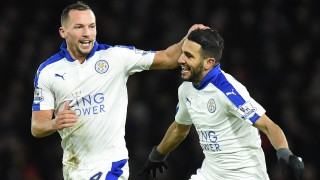 Leicester City's Algerian midfielder Riyad Mahrez (R) celebrates scoring his team's first goal with Leicester City's English midfielder Danny Drinkwater during the English Premier League football match between Watford and Leicester City at Vicarage Road Stadium in Watford, north of London on March 5, 2016. / AFP / OLLY GREENWOOD / RESTRICTED TO EDITORIAL USE. No use with unauthorized audio, video, data, fixture lists, club/league logos or 'live' services. Online in-match use limited to 75 images, no video emulation. No use in betting, games or single club/league/player publications.  /