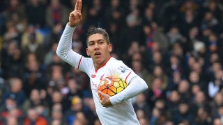 Liverpool's Brazilian midfielder Roberto Firmino celebrates after scoring their frist goal during the English Premier League football match between Crystal Palace and Liverpool at Selhurst Park in south London on March 6, 2016. / AFP / GLYN KIRK / RESTRICTED TO EDITORIAL USE. No use with unauthorized audio, video, data, fixture lists, club/league logos or 'live' services. Online in-match use limited to 75 images, no video emulation. No use in betting, games or single club/league/player publications.  /