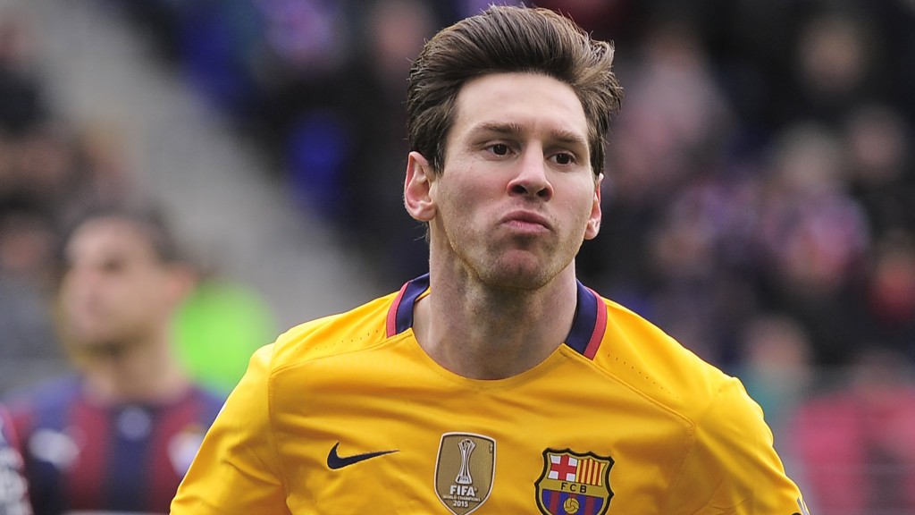 """Barcelona's Argentinian forward Lionel Messi celebrates after scoring during the Spanish league football match SD Eibar vs FC Barcelona at the Ipurua stadium in Eibar on March 6, 2016. / AFP / ANDER GILLENEA / """"The erroneous mention[s] appearing in the metadata of this photo by ANDER GILLENEA has been modified in AFP systems in the following manner: [ADDING CODE FOR LIVE REPORT]. Please immediately remove the erroneous mention[s] from all your online services and delete it (them) from your servers. If you have been authorized by AFP to distribute it (them) to third parties, please ensure that the same actions are carried out by them. Failure to promptly comply with these instructions will entail liability on your part for any continued or post notification usage. Therefore we thank you very much for all your attention and prompt action. We are sorry for the inconvenience this notification may cause and remain at your disposal for any further information you may require."""""""