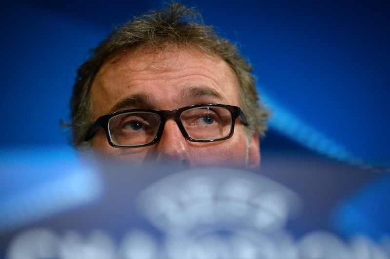Paris Saint-Germain's French head coach Laurent Blanc attends a press conference at Stamford Bridge in London on March 8, 2016 ahead of their UEFA Champions League, round of 16 second leg football match against Chelsea.    / AFP / GLYN KIRK