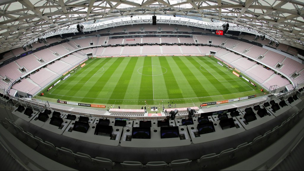 """A picture taken on March 20, 2016 in Nice, southeastern France, shows the """"Allianz Riviera"""" stadium for the upcoming Euro-2016 European football championships. / AFP / VALERY HACHE"""