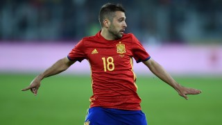 Spain's defender Jordi Alba is pictured during the friendly football match between Romania and Spain in Cluj Napoca, Romania on March 27, 2016. / AFP / DANIEL MIHAILESCU