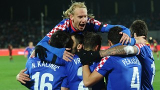 2739886 11/17/2015 Croatian players celebrate a goal during the football friendly match between the Russian and Croatian national teams. Sergey Pivovarov/Sputnik