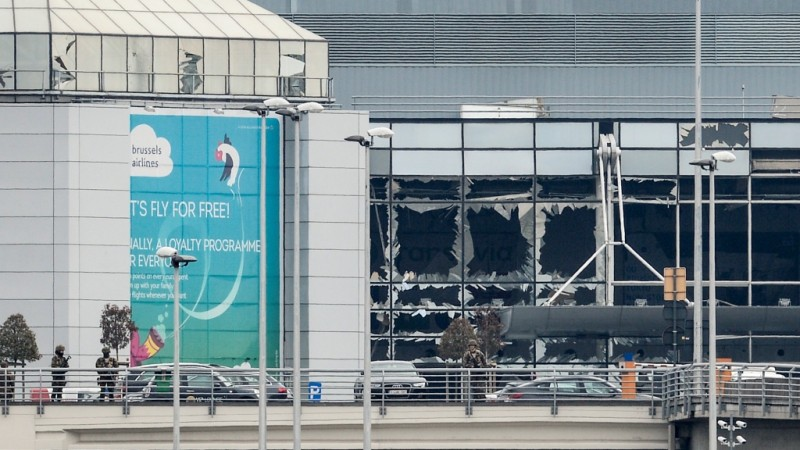 The exploded departure hall pictured at Brussels Airport, in Zaventem, Tuesday 22 March 2016. Two explosions in the departure hall of Brussels Airport this morning took the lives of 11 people, 81 got injured. Another explosion happened in the Maelbeek - Maalbeek subway station, Brussels' public transport company STIB-MIVB has confirmed 15 deaths and 55 injured people. Government sources speak of a terrorist attack. The terrorist threat level has been heightened to four across the country. BELGA PHOTO DIRK WAEM