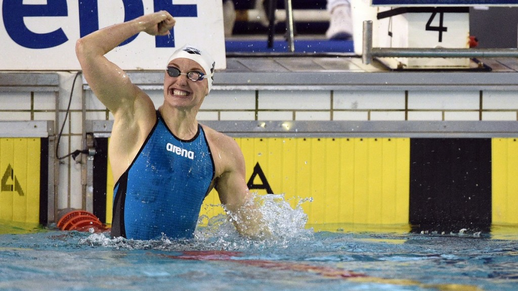 Katinka Hosszu from Hungaria reacts after her victory on the women 4x100m medley during the Meeting international Open Mediterranee, FFN Golden Tour, Camille Muffat, 50m in Marseille, France, on March 4 to 6, 2016 - Photo Philippe Millereau / KMSP / DPPI