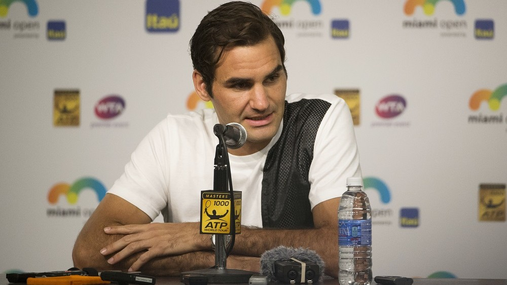 Roger Federer of Switzerland holds a press conference during the Master 1000 Miami Open 2016 on March 24, 2016 at the Crandon Park Tennis Center in Key Biscayne, USA - Photo Mike Frey / Backpage Images / DPPI
