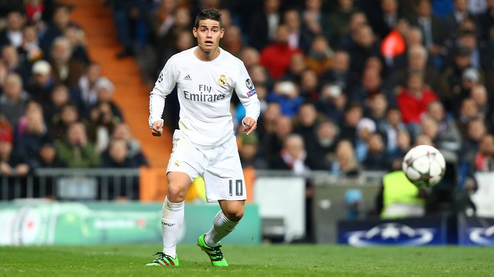 James Rodriguez of Real Madrid during the UEFA Champions League round of 16, 2nd leg, football match between Real Madrid CF and AS Roma on March 8, 2016 at Santiago Bernabeu stadium in Madrid, Spain.  Photo Manuel Blondeau/AOP Press/DPPI