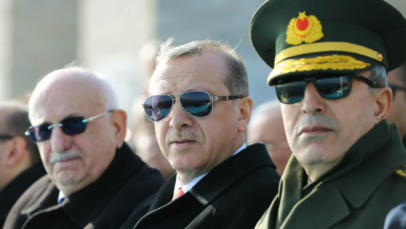 CANAKKALE, TURKEY - MARCH 18: Turkish President Recep Tayyip Erdogan (L) attends a ceremony marking the 101st anniversary of the Canakkale Battles at the Martyrs' Memorial in Canakkale, Turkey on March 18, 2016.   Kayhan Ozer / Anadolu Agency