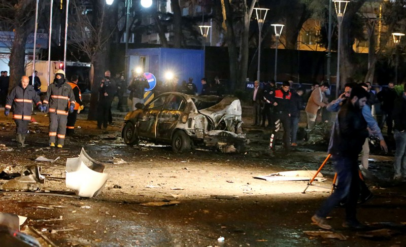 This picture taken on March 13, 2016, shows a burnt out car after a blast in Ankara.