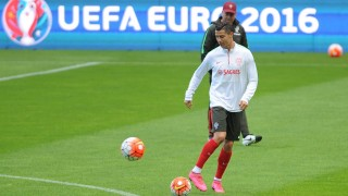 PORTUGAL, Braga: The Portuguese National Team had a training session in Municipal de Braga stadium in Braga, Portugal on October 6, 2015.Portugal will face Denmark on October 8, 2015 in upcoming UEFA EURO 2016 qualifying soccer match. - CITIZENSIDE/ALEXANDRE RIBEIRO