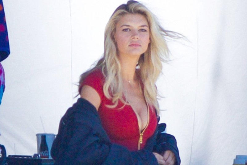Tybee, GA - Tybee, GA - Kelly Rohrbach was spotted on set of the new reboot film, Baywatch. The blonde bombshell was wearing the iconic red swimsuit but looked to be a little cold as she put on a heavy coat. She looked fit and toned as she got ready to film. AKM-GSI 23 MARCH 2016 To License These Photos, Please Contact : Maria Buda (917) 242-1505 mbuda@akmgsi.comor  Steve Ginsburg (310) 505-8447 (323) 423-9397 steve@akmgsi.com sales@akmgsi.com