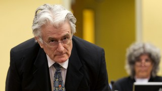 Bosnian Serb wartime leader Radovan Karadzic appears in the courtroom for his appeals judgement at the International Criminal Tribunal for Former Yugoslavia (ICTY) in The Hague, The Netherlands, on July 11 2013. AFP PHOTO/ POOL/MICHAEL KOOREN / AFP / POOL / MICHAEL KOOREN