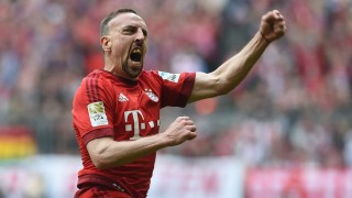 Bayern Munich's French midfielder Franck Ribery celebrates after his opening goal during the German Bundesliga first division football match between FC Bayern Munich and Eintracht Frankfurt in Munich, southern Germany, on April 2, 2016. / AFP / CHRISTOF STACHE / RESTRICTIONS: DURING MATCH TIME: DFL RULES TO LIMIT THE ONLINE USAGE TO 15 PICTURES PER MATCH AND FORBID IMAGE SEQUENCES TO SIMULATE VIDEO. == RESTRICTED TO EDITORIAL USE == FOR FURTHER QUERIES PLEASE CONTACT DFL DIRECTLY AT + 49 69 650050