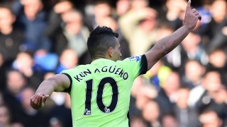 Manchester City's Argentinian striker Sergio Aguero celebrates scoring the opening goal of the English Premier League football match between Chelsea and Manchester City at Stamford Bridge in London on April 16, 2016. / AFP PHOTO / Ben STANSALL / RESTRICTED TO EDITORIAL USE. No use with unauthorized audio, video, data, fixture lists, club/league logos or 'live' services. Online in-match use limited to 75 images, no video emulation. No use in betting, games or single club/league/player publications.  /