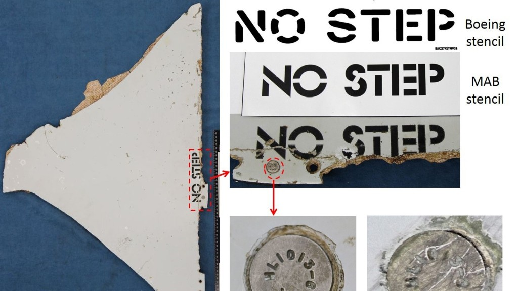 """This undated handout received on April 19, 2016 from Boeing and the Australian Transport and Safety Bureau shows a piece of debris (L), a segment of a Boeing 777 horizontal stabilizer panel, found in Mozambique with the words 'No Step' painted on it believed to be from missing Malaysia Airlines flight MH370; and a comparison of the original Boeing stencil (top R), one used by Malaysia Airlines (top R centre) and the one on the debris (top R-bottom), and a fastener (bottom R). Investigators were on April 19, 2016 examining two more pieces of debris for clues to the fate of Malaysia Airlines flight MH370, along with marine life found on two other items which """"almost certainly"""" came from the lost jet.  / AFP PHOTO / Australian Transport and Safety Bureau / Boeing / STR / -----EDITORS NOTE --- RESTRICTED TO EDITORIAL USE - MANDATORY CREDIT """"AFP PHOTO / Australian Transport and Safety Bureau / Boeing"""" - NO MARKETING - NO ADVERTISING CAMPAIGNS - DISTRIBUTED AS A SERVICE TO CLIENTS - NO ARCHIVES"""
