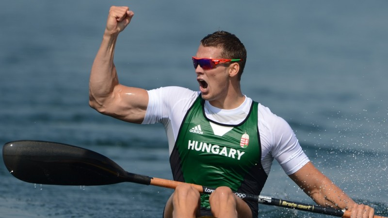 Hungary's Miklos Dudas celebrates after competing in the kayak single (K1) 200m men's semifinals during the London 2012 Olympic Games, at Eton Dorney Rowing Centre in Eton, west of London, on August 10, 2012.   AFP PHOTO / DAMIEN MEYER / AFP PHOTO / DAMIEN MEYER
