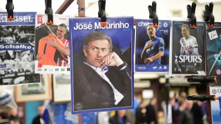 A calendar featuring Chelsea's former Portuguese manager Jose Mourinho is on sale before the English Premier League football match between Chelsea and Sunderland at Stamford Bridge in London on December 19, 2015. Jose Mourinho attended the Championship match between Brighton and Hove Albion and Middlesbrough today in his first public appearance since being sacked as Chelsea manager on Thursday. AFP PHOTO / LEON NEAL / AFP PHOTO / LEON NEAL