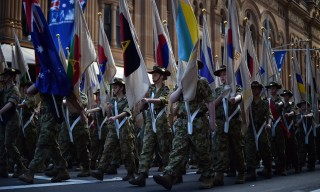 Cadets march along George Street during the Anzac Day parade in Sydney on April 25, 2015. Record numbers of Australians and New Zealanders turned out on April 25 to mark the centenary of the Gallipoli landings amid tight security, a formative event that helped forge their identities as independent nations. AFP PHOTO / Saeed KHAN / AFP PHOTO / SAEED KHAN