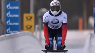 2756980 12/12/2015 Pavel Kulikov (Russia) at the finish of the men's skeleton event at the third stage of the BMW IBSF Bobsleigh and Skeleton World Cup in Konigssee. Vladimir Astapkovich/Sputnik