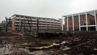 A view of the new campus of Changzhou Foreign Languages School near a toxic site in Changzhou city, east China's Jiangsu province, 18 April 2016.