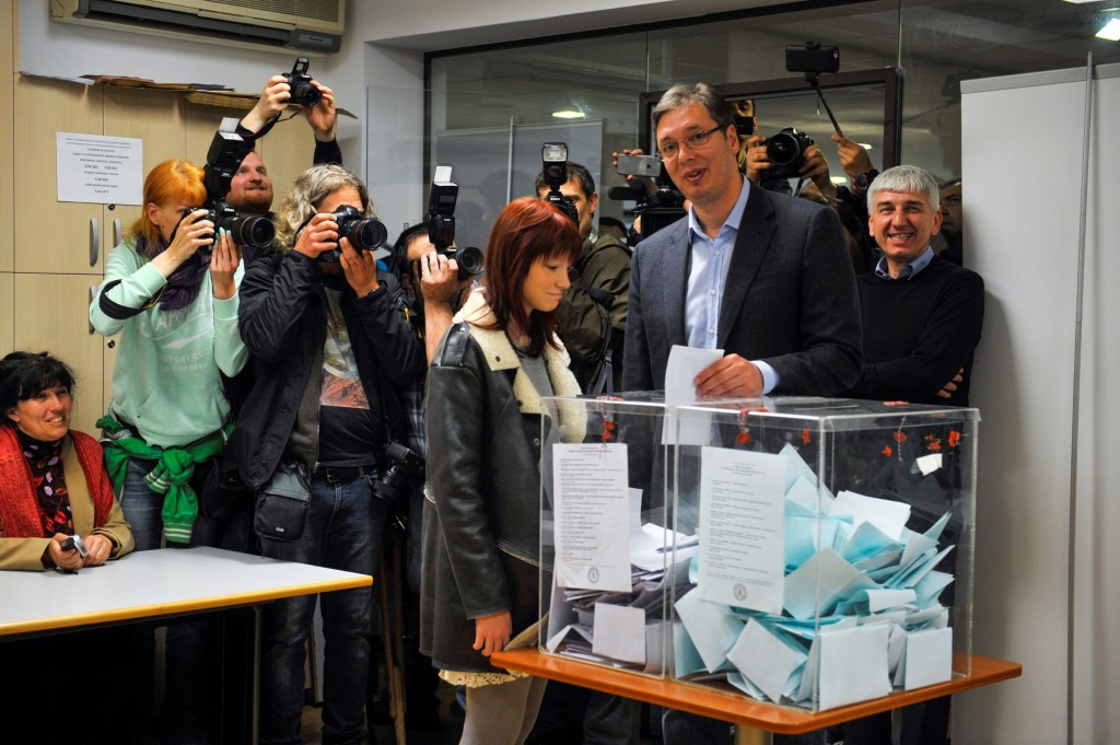 BELGRADE, SERBIA - APRIL 24: Prime Minister of Serbia, Aleksandar Vucic casts his ballot in snap elections to designate a new government for the next four-year term, at a polling station in Belgrade, Serbia on April 24, 2016.