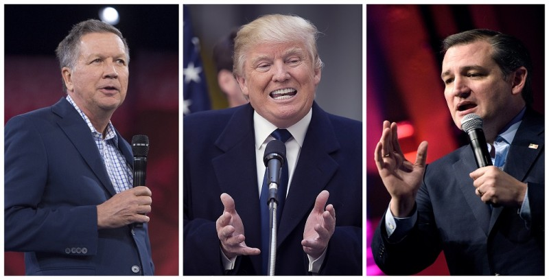 (FILES)This combination of file photos shows Republilcan presidential candidates Ted Cruz(L) Donald Trump (C)and John Kasich. Ted Cruz and John Kasich have agreed to join forces to try to deny frontrunner Donald Trump the Republican Party's presidential nomination, their campaigns said April 24, 2016. The sudden alliance, revealed in short statements, arose due to the pressing timing of the Republican party's presidential primary season.  / AFP PHOTO / dsk