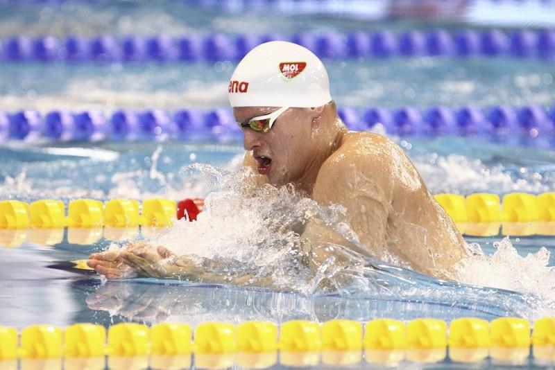 Gyõr, 2016. április 13. Gyurta Dániel a 100 méteres mellúszás elõfutamában, az úszók országos bajnokságán Gyõrben, az Aqua Sportközpontban 2016. április 13-án. MTI Fotó: Kovács Anikó