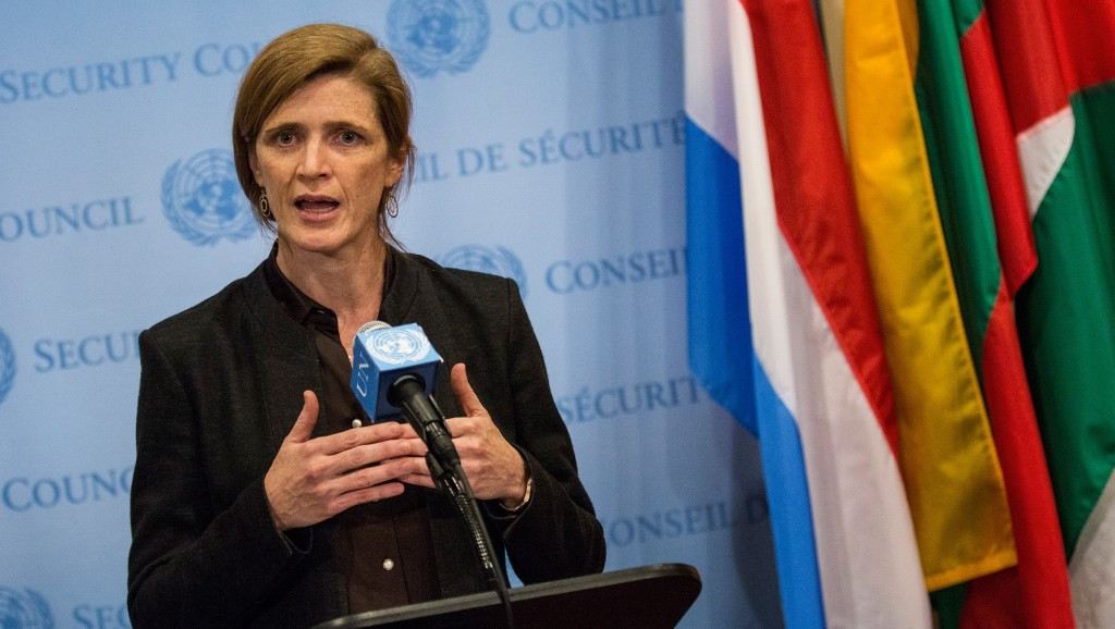 NEW YORK, NY - MARCH 01:  The United States Ambassador to the United Nations (UN), Samantha Power, speaks to the media after a UN Security Council meeting on March 1, 2014 in New York City. Russia's upper parliament approved military action in Ukraine today; the UN Security Council is having informal meetings in response.  (Photo by Andrew Burton/Getty Images)