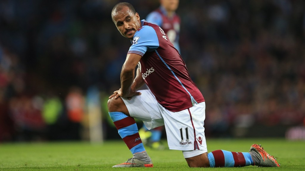 BIRMINGHAM, ENGLAND - AUGUST 14: Gabriel Agbonlahor of Aston Villa during the Barclays Premier League match between Aston Villa and Manchester United at Villa Park on August 14, 2015 in Birmingham, England. (Photo by Marc Atkins/Getty Images)