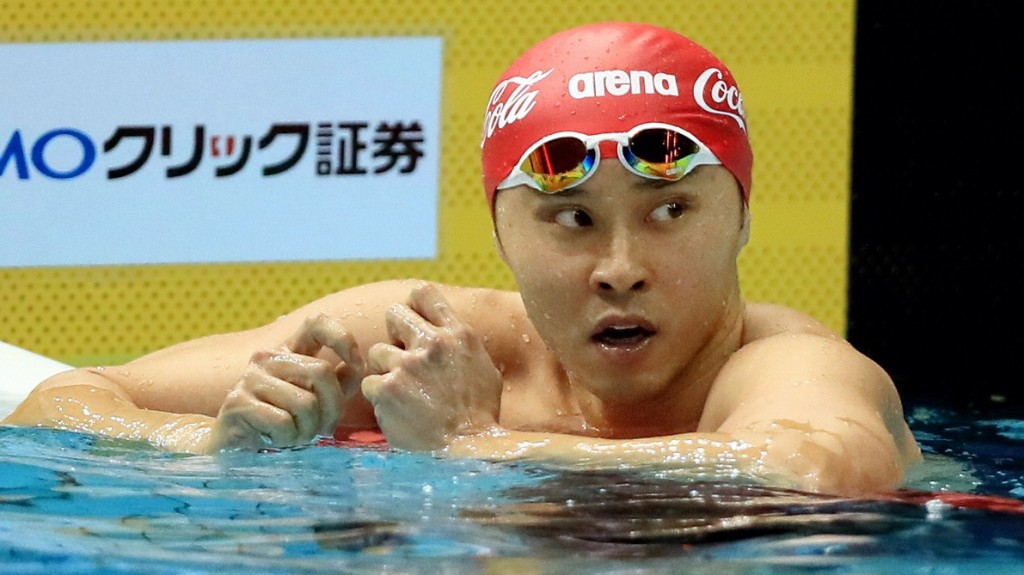 TOKYO, JAPAN - APRIL 07:  (CHINA OUT, SOUTH KOREA OUT) Kosuke Kitajima reacts after competing in the Men's 100m Breaststroke semi final during day four of the Japan Swim 2016 at Tokyo Tatsumi International Swimming Center on April 7, 2016 in Tokyo, Japan.  (Photo by The Asahi Shimbun via Getty Images)