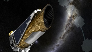 """This NASA artist concept obtained December 19, 2014 shows NASA's planet-hunting Kepler spacecraft operating in a new mission profile called K2. In May, the spacecraft began its new mission observing in the ecliptic plane, the orbital path of Earth around the sun, depicted by the grey-blue line marked by opaque cross-like shapes. Each shape represents the field-of-view of an observing campaign. Using publicly available data collected by the spacecraft in February during the performance concept test to prove K2 would work, astronomers confirmed the first exoplanet detected by the K2 mission. The newly confirmed planet, HIP 116454b, is two-and-a-half times the diameter of Earth, and closely orbits a star smaller and cooler than our sun once every nine days, making the planet too hot for life as we know it. The star and planet are 180 light-years from Earth toward the constellation Pisces. AFP PHOTO/NASA/AMES/JPL-CALTECH/HANDOUT  =  RESTRICTED TO EDITORIAL USE / MANDATORY CREDIT: """"AFP PHOTO HANDOUT-NASA/AMES/JPL-CALTECH""""/ NO MARKETING - NO ADVERTISING CAMPAIGNS/ – NO A LA CARTE SALES / DISTRIBUTED AS A SERVICE TO CLIENTS /  = / AFP PHOTO / NASA/Ames/JPL-Caltech / Handout"""